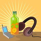 Mobile Phone Soda Drink Headphone Retro by patrimonio