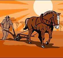 Farmer and Horse Plowing Farm Retro by patrimonio