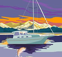 Sailboat Retro by patrimonio