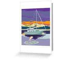 Sailboat Retro Greeting Card
