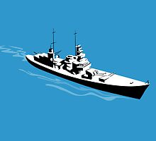 World War Two Battleship Warship Cruiser Retro by patrimonio