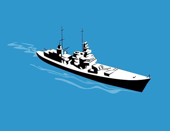 World War Two Battleship Warship Cruiser Retro by patrimonio