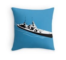 World War Two Battleship Warship Cruiser Retro Throw Pillow