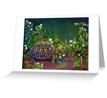 Florida Box Turtle, Strawberries and Blooms Greeting Card