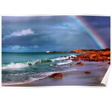 Rainbow at the Beach Poster