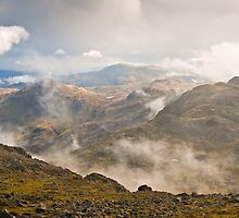 Crinkle Crags from Bow Fell - Cumbria by David Lewins