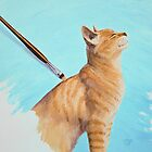 Brushing the Cat - Oil Painting by csforest