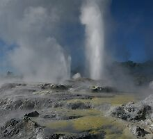 Pohutu and Prince of Wales geysers. Rotorua. NZ by Ian Hallmond