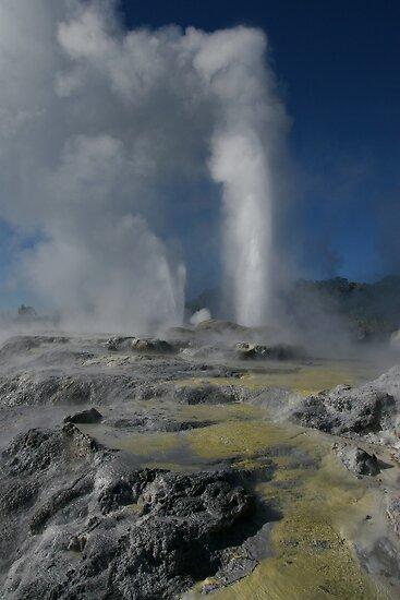 Pohutu and Prince of Wales geysers. Rotorua. NZ by Ian Hallmond