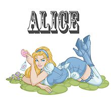 Alice in Wonderland Pinup by screamingtiki