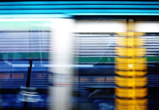 Reflection In Train Window by Robert Phillips