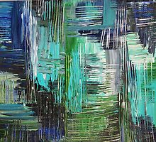 AQUATIC COMMOTION in Color - Textural Ocean Beach Nautical Abstract Acrylic Painting Wow Winter Xmas by EbiEmporium