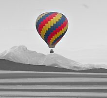Colorful Hot Air Balloon and Longs Peak by Bo Insogna