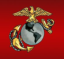 USMC Emblem(Colored Pencil) by screamingtiki