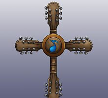Guitar Neck Cross by screamingtiki