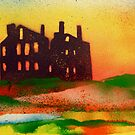 Derelict mansion at sunset by George Hunter