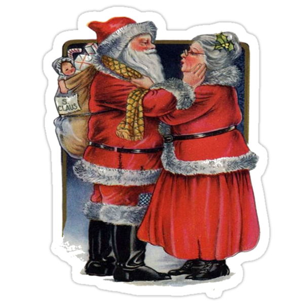 Vintage Santa and Mrs Claus Christmas Greetings by taiche
