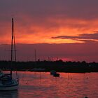 Sunset over Leigh in Essex by Sandra Caven