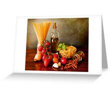 Italian pasta, arrabbiata sauce recipe Greeting Card