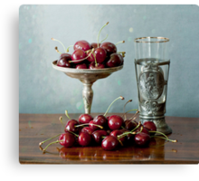 Cherries on a silver plate and an ancient glass Canvas Print