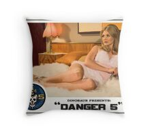 """Danger 5 Lobby Card #1 - """"The fruit is ripe but the tree is yet to be harvested"""" Throw Pillow"""