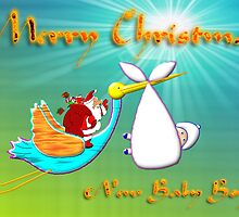 Christmas Baby Boy delivered by Santa and a Stork by Dennis Melling