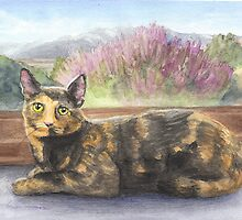 Tortoise-shell cat at window watercolor by Mike Theuer