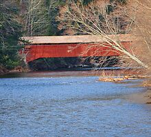 Side view of the Hillsgrove Covered Bridge by Penny Rinker