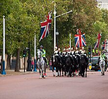 Horse Guards and Police Escort in The Mall by Sue Robinson