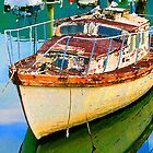 Old Boat in Marina by Heike Richter