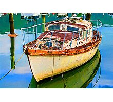 Old Boat in Marina Photographic Print