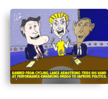 Caricature of Obama Romney and Armstrong Canvas Print