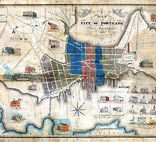 Portland, Maine 1836 Map by John Cullum by sullboat