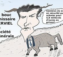Caricature de Jérôme KERVIEL le bouc émissaire by Binary-Options