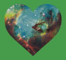 Green Galaxy Heart Kids Clothes