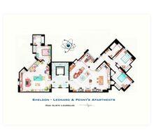 The Big Bang Theory Apartment Art Print