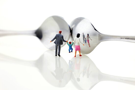 Family in front of spoon distoring mirrors II by Paul Ge