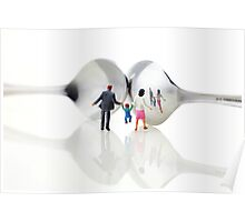 Family in front of spoon distoring mirrors II Poster