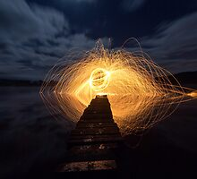 Sparks Flying on the Jetty  by David Hannah