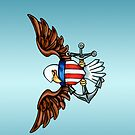 USN Bald Eagle with Anchor (Colored Pencil) by screamingtiki
