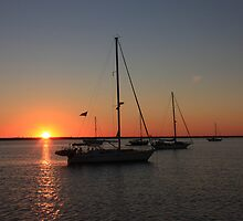 Sailboats at sunset by Timothy Gass