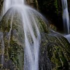 Waterfall flows over round rock, Vanuatu, South Pacific Ocean by Sharpeyeimages