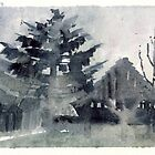Winter barns, watercolor by aceshirt