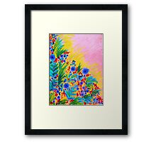NATURAL ROMANCE in PINK - October Floral Garden Sweet Feminine Colorful Rainbow Flowers Painting Framed Print