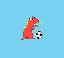 Funny Cartoon Dinosaur Soccer Blue iPhone Case by Boriana Giormova