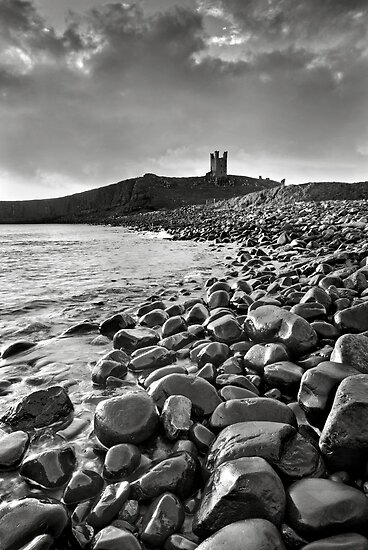 Dunstanburgh Castle - Mono by Dave Lawrance