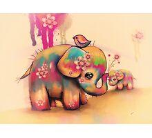 vintage tie dye elephants Photographic Print