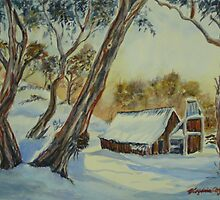 Wallace's Hut, Bogong High Plains by Virginia  Coghill