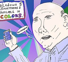 Caricature de Steve BALLMER et le Windows8 Smartphone by Binary-Options