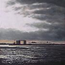 Southampton Docks from Weston shore winter sunset by martyee